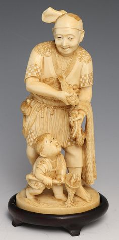 "JAPANESE CARVED IVORY OKIMONO FISHERMAN W SON Japanese carved ivory okimono, late 19th/early 20th, of elder fisherman with son. Light monochrome staining to enhance details. Cartouche of signature on underside. Includes base. Provenance: Private Minnesota estate. Weight: 256g without base Size: 6"" without base"