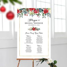 Christmas Flowers, Christmas Themes, Christmas Wedding, Christmas Holidays, Seating Chart Wedding, Seating Charts, Wedding Shower Signs, Photo Booth Props, Bridal Shower Decorations