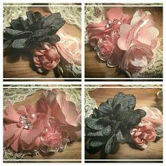 Elastische haarbandjes van kant met meerdere bloemen. Voor 5,50 te bestellen via suzancreatief@hotmail.nl