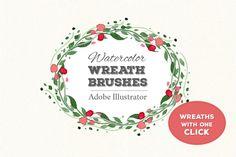 Wreath Brushes for Illustrator by Olga Lebedeva on @creativemarket