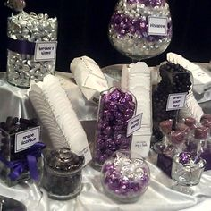 Purple and Silver Wedding Candy buffet in San Jose, Ca | Yelp