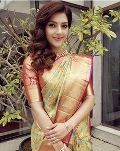Stylish yellow colored latest silk saree with blouse piece - ds Pattu Saree Blouse Designs, Saree Blouse Patterns, Bridal Blouse Designs, Beautiful Girl Indian, Most Beautiful Indian Actress, Beautiful Saree, Gorgeous Lady, Beautiful Models, Beautiful Actresses