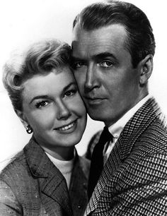Doris Day - Jimmy stewart -- the classic Hollywood couple promo pose - copied still by family portrait makers -- can you pick out where the lights are?