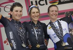 Two Italians and two teammates on the podium of stage 5 in the 2016 Giro Rosa: 1. Mara Abbott (Wiggle-High5), 2. Elisa Longo Borghini (Wiggle-High5), 3. Tatiana Guderzo (Team Hitec).