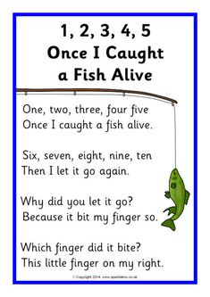1, 2, 3, 4, 5, Once I Caught a Fish Alive Song Sheet (SB10735)