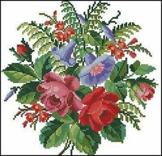 This Pin was discovered by Neş Cross Stitch Rose, Cross Stitch Flowers, Cross Stitch Embroidery, Embroidery Patterns, Cross Stitch Patterns, Machine Embroidery, Cross Stitches, Yarn Crafts, Diy And Crafts