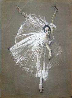 Valery Kosorukov Natalia Bessmertnova as Giselle. Pastel on Paper (via Kosorukov Studios)