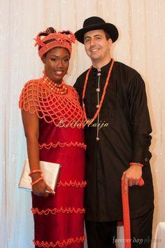 Nigerian Wedding naija hat coral beads edo walking stick bride