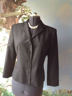Ralph Lauren Long Sleeve Gray Checkers 100% Wool Suit Jacket Blazer Size 12 #RalphLauren #Blazer
