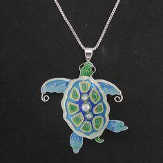 Pearly Sea Turtle Necklace | Enamel Turtle Necklace | Zarah Jewelry