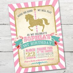 Invitación del cumpleaños del carrusel carrusel por partymonkey                                                                                                                                                                                 Más