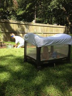 Use a crib sheet to protect an outdoor baby from bug bites and too much sun.