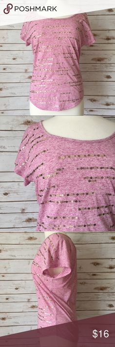 "Maurices Heathered Pink Sequin Tee Feminine heathered pink keyhole back tee with sequined accents by Maurices. • 24"" long • 19"" pit to pit • In great condition  🚭 Smoke-free home 📬 Ships by next day 💲 Price negotiable  🔁 Open to trades Maurices Tops"