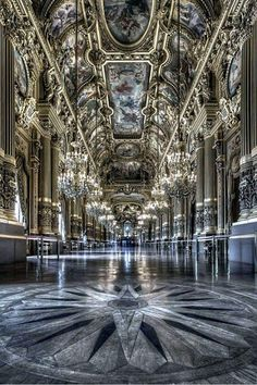 Le Palais Garnier (Paris opera house) - Grand Foyer/ one of my favorite places in paris Architecture Antique, Beautiful Architecture, Beautiful Buildings, Art And Architecture, Beautiful Places, Classical Architecture, Architecture Details, Paris Opera House, Opera Garnier Paris