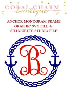 Anchor Monogram Frame File for Cutting by CoralCharmBoutique