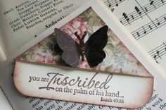 Handmade Corner Bookmark Isaiah Butterfly by FairestLJ on Etsy, $3.50