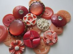 Vintage Buttons  Cottage chic mix of peach and by pillowtalkswf, $8.95