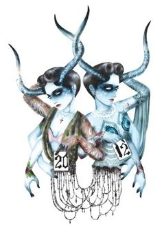"""Art by Chelsea Brown. """"An illustration for Fashion Dash magazine inspired by Jean Paul Gaultier's RTW collection"""""""