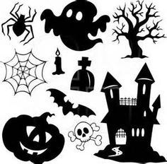 Vector set of halloween silhouette elements Free vector in Encapsulated… Bolo Halloween, Moldes Halloween, Art Halloween, Image Halloween, Manualidades Halloween, Halloween Drawings, Halloween Pictures, Diy Halloween Decorations, Halloween 2019