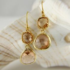 Champagne Peach Earrings, wedding Earrings, Bridesmaids Gift, Pastel Color, Spring Trend, Fashion, Elegant, Mothers Day Gift, Sparkly. $32.00, via Etsy.