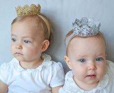 The Diana Crown, Lace Princess Crown, Baby Crown, Gold Crown, Silver Crown, Mini Crown, Crown Headband, Newborn Crown, Child's Crown. $12.00 USD, via Etsy.