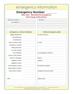 Emergency Contact Sheet Printable  Great For The Babysitter