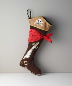 Pirate Stocking - exclusively ours - Pirates love treasure, that's why this velvet boot is perfect for Santa to fill with Christmas loot.