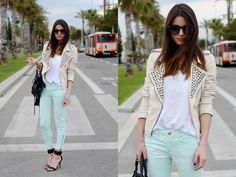 Mint green, white tee, off white jacket - cute! Not feeling the shoes... I would wear two tone black/beige flats.