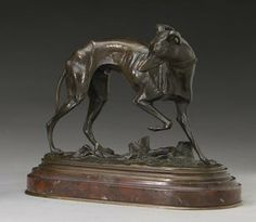 Bronze study of a whippet after Barye