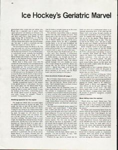 "1963 JOHN BOWER vintage magazine article ""Geriatric Marvel"" ~ Ice Hockey's Geriatric Marvel - Thirty-eight years of age, going on 45, goalie John Bower of the Toronto Maple Leafs seems to have found the secret to perennial youth. - by Dave Anderson ~"