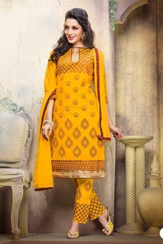 THANKAR YELLOW COTTON STRAIGHT SUIT #salwarkameez #dress #yellow #wedding #shopping #online #salwarsuits #buydressonline #wholesale #offers #discounts #shopping