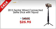 The 2015 SENTAR Wired Connected Selfie Stick and Mini Tripod is a brand new and improved monopod for self portrait photography.  Simply, plug the wire into the 3.5mm audio jack on your mobile phone and take photos with the built-in shutter button.