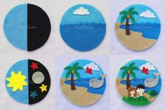 The Creation Story comes to life as the felt pieces layer upon each other (as shown in the second picture).  Also excellent for imaginative play at home!  Each set includes 17 pieces:  2 light blue circles (7 inches) 1 light blue circle / globe 1 black half circle 1 moon 6 stars (only 3 shown in pictures - please message me if you would like all white or all yellow stars) 1 sun 1 cloud 1 sea 1 land 1 tree 1 bird 1 whale 1 turtle 1 man + woman  Recommended age: 3+ (some small pieces included…
