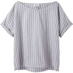 Rachel Comey Stripe Source Top ($153) ❤ liked on Polyvore featuring tops, t-shirts, shirts, tees, black v neck t shirts, blue t shirt, v neck tee, striped t shirt and stripe t shirt