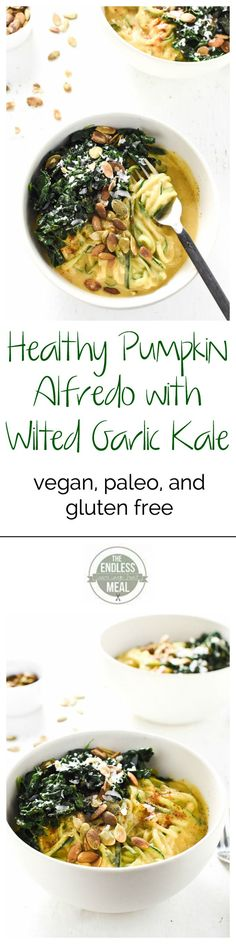 Healthy Pumpkin Alfredo with Wilted Garlic Kale | The Endless Meal