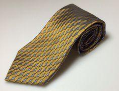 Robert Talbot Studio Tie Blue & Gold 100% Silk Necktie EUC #RobertTalbotStudio #NeckTie