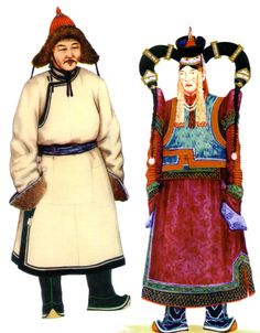 """The traditional dress is closely connected with the Mongolian way of life and the country. The costumes are used in different situations; to rides on horseback over the steppe, to dances at a national festival. In summer the Mongols wear a light coat or frock, the """"Terleg"""" (deel - summer coat), in spring, autumn and winter a wadded coat (row cotton), or a lambskin coat, in winter they wear a sheepskin dress reminding of a fur coat."""