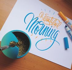 Beautiful morning #letter #lettering #calligraphy #caligrafia #letras #caligrafiaartistica #crayolamarkers #morning #beautiful #mate #amanoalzada #handletters #handletterschile #instaletter