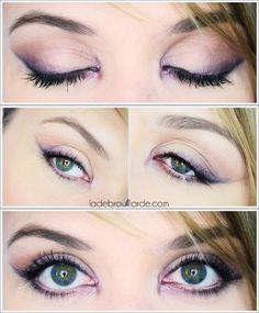 maquillage soirée simple prune #plum #maquillage #soirée #eyeliner #makeup #yeuxvert