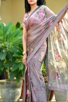 Buy Mauve Hand Painted Saree Online in India Chiffon Saree, Saree Dress, Lace Saree, Silk Chiffon, Fancy Sarees Party Wear, Saree Painting Designs, Hand Painted Sarees, Saree Floral, Sari Design