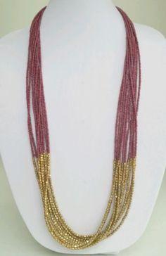 Natasha Couture-Gold Druzy Beads w/Mauve Bead Multi Strand Necklace. 36