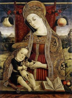 Carlo Crivelli, ( Venice 1430? – Ascoli Piceno 1495). Italian Renaissance painter of conservative Late Gothic decorative sensibility, who spent his early years in the Veneto, where he absorbed influences from the Vivarini, Squarcione and Mantegna. He left the Veneto by 1458 and spent most of the remainder of his career in the March of Ancona, where he developed a distinctive personal style that contrasts with that of his Venetian contemporary Giovanni Bellini.