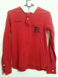 Ralph Lauren Medium Boys Rugby Long Sleeve Red Shirt  #RalphLauren