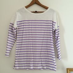 J. Crew Lilac Stripe Bateau Top In great used condition, only worn once by me. Has just been sitting in my closet. 3/4 sleeves, beautiful lilac stripes. Great for spring/summer. I do not trade or hold itemsNO TRADES OR HOLDS J. Crew Tops Tees - Short Sleeve