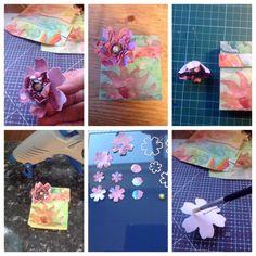Foto tutorial Scor pal doosje en aquarel bloem. Parel op ijzerdraad, gaatjes in de bloemen en achterzijde flink nat maken.