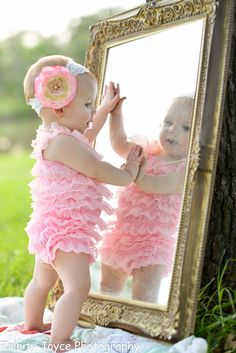 baby girl picture, mirror fun