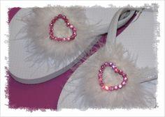 Size 7 White Boa & Pink Heart Fancy Flops CLEARANCE by fancyflop