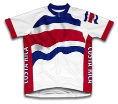 Costa Rica Flag Short Sleeve Cycling Jersey for Men Size L -- Learn more by 0fedcc535