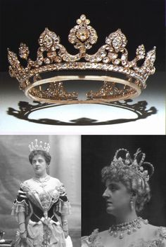The Londonderry Tiara (top) worn by Theresa, Marchioness of Londonderry (L) with enormous pearl spikes and (R) with inset crown frame and upright cross, probably at the Devonshire House Costume Ball of 1897 where her jewellery dazzled everyone.