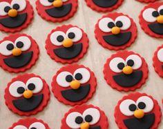 12 Elmo Fondant Cupcake Toppers